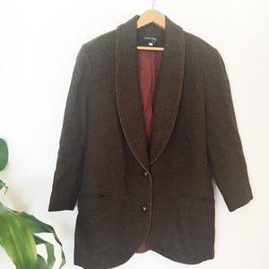 Vintage | 100% Wool Green/Brown Two-Button Blazer